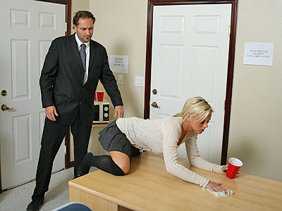 Bree Olson cleaning a table for Big Tits at School